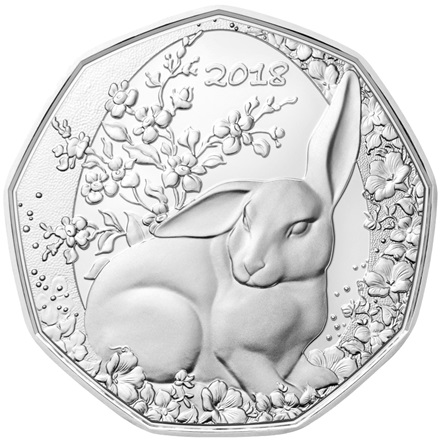 Silber Osterhase 5 EUR HGH AUT - 2018