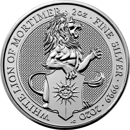 Silber The White Lion of Mortimer 2 oz - The Queen's Beasts 2020 - differenzbesteuert