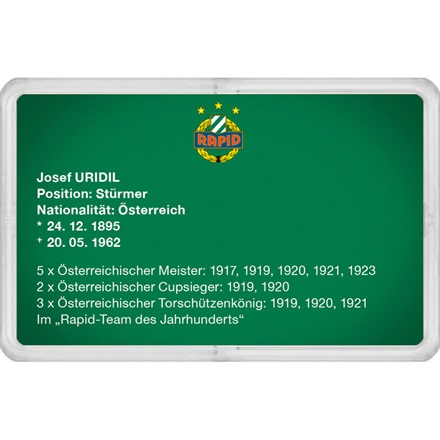 "Goldbarren 1g - RAPID Gold Card ""Josef Uridil"""