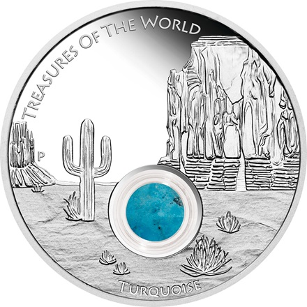 Treasures Of The World – Nord Amerika 2015 1oz Silbermünze mit Türkis PP